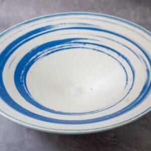 צלחת פורצלן פסים כחולים