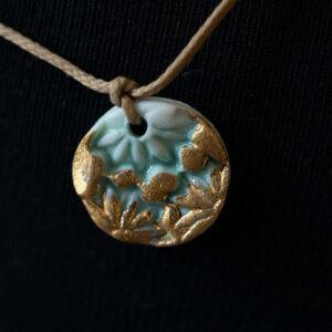 תליון פרחים טורקיז/זהב